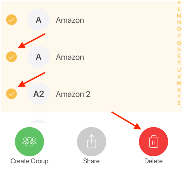 Choose multiple contacts to delete and then tap on Delete option
