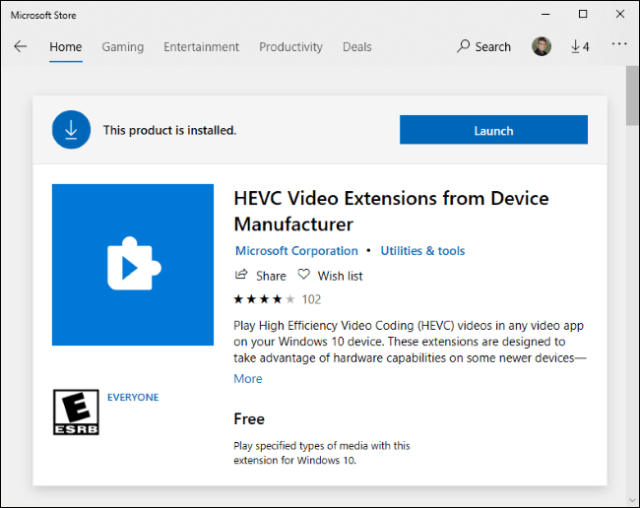 Free HEVC Video Extensions from the Microsoft Store.