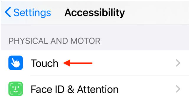 Select Touch in Accessibility