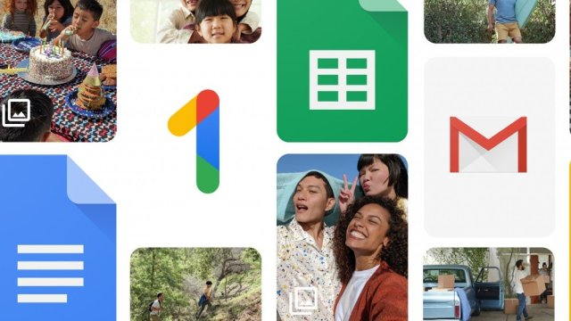 A Google One newspaper interspersed with other Google product logos.
