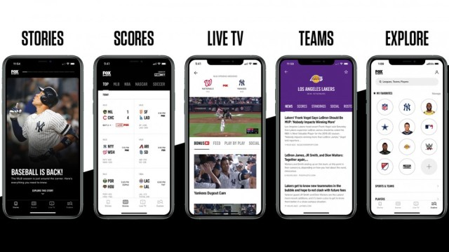 Screenshots of the updated FOX Sports app with stories, live TV, scores and more.