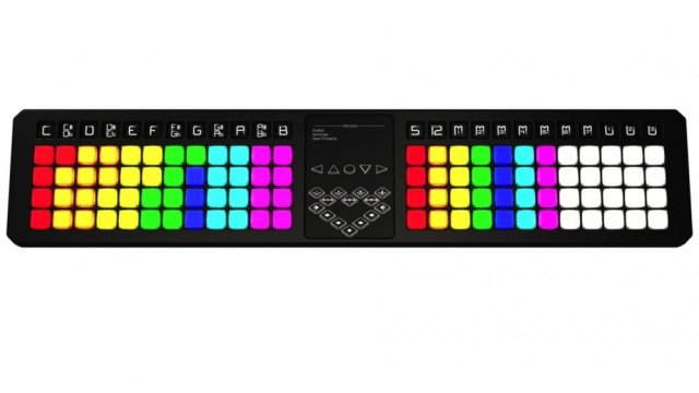 TheoryBoard music theory teacher MIDI controller with specific color coded keys