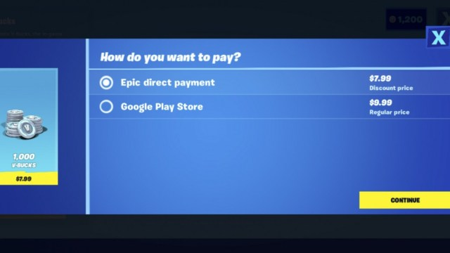 Fortnite screenshot on Android, showing the new payments