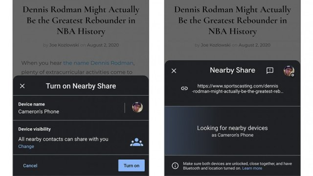 Screenshots of Share Nearby in action.