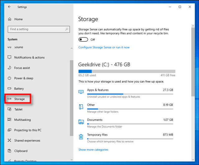 Click on Storage in Windows 10 settings