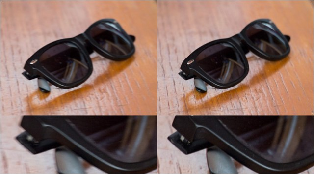 Four images of a pair of sunglasses on a table, two where the SI was used and two when it wasn't.