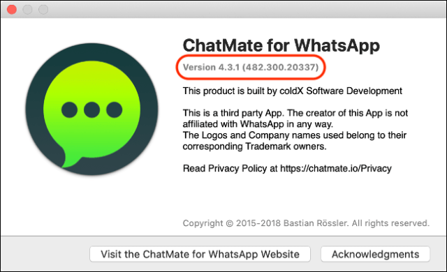 """An """"About"""" dialog box for """"WhatsApp"""" with the version number."""