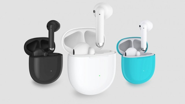 Three sets of true wireless earphones in black, white and teal.