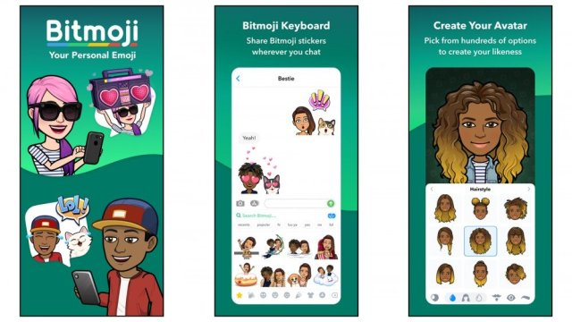 Bitmoji app for creating personalized cartoon avatar stickers