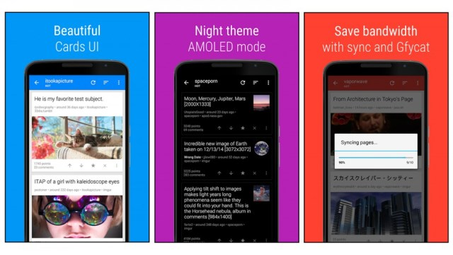 sync for reddit app to display messages as cards, amolated night setting and other features