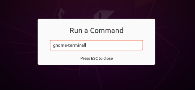 Executing a command to open a terminal in the GNOME Run Command dialog box.