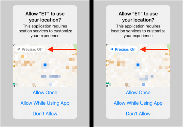 Precise location toggle in location access pop-up