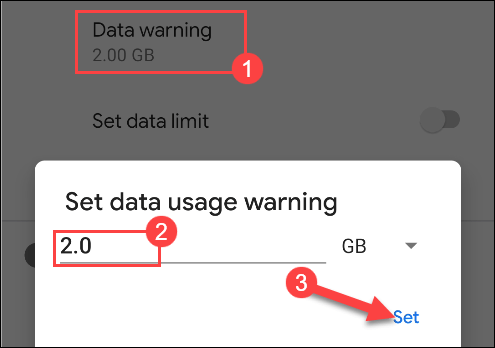 enter a number for the data usage warning