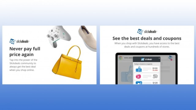 SlickDeals Chrome browser extension showing great deals on products like clothing, games and accessories