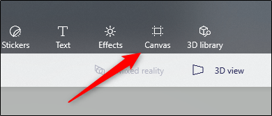 Canvas option in the menu
