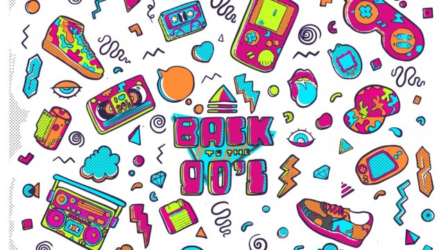 Back to the 90s, trendy design illustration from the 80s-90s