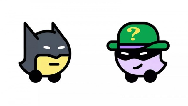 Batman and Riddler disguised as Waze icons