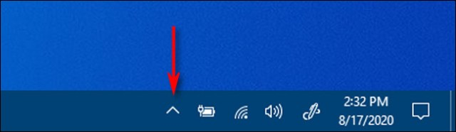 Click the carat shaped arrow in the taskbar notification area to see the hidden icons in Windows 10.
