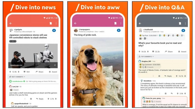 the official reddit app displaying news, cute images and other features