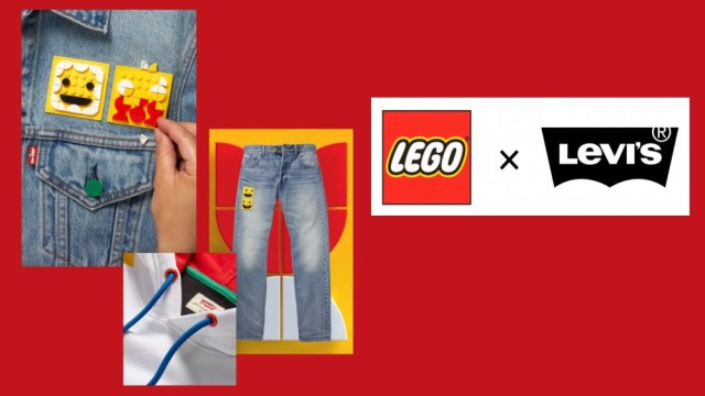 LEGO Group x Levi's clothing collaboration items and logo on a red background