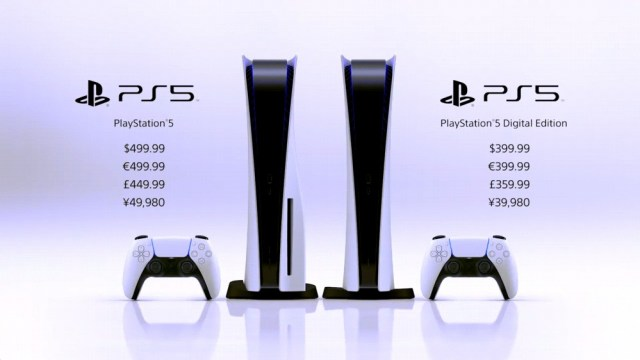 Two PS5 units, with prices next to them.