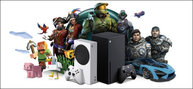 Xbox consoles surrounded by Xbox game characters.
