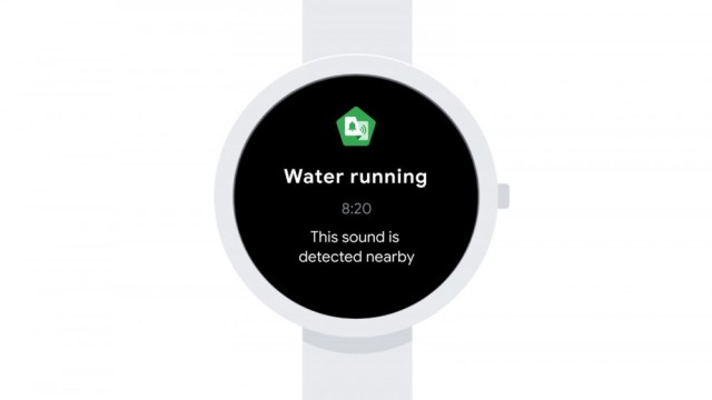 A Wear OS watch with a notification about flowing water.