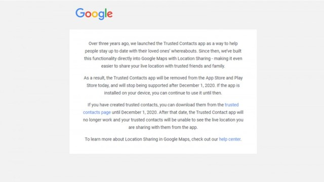 Text message from Google regarding the removal of the Google Trusted Contacts app