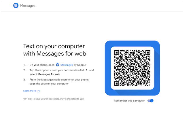Scan QR code to link Android and Chromebook messages
