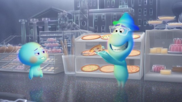 Two ghosts trying to eat pizza.