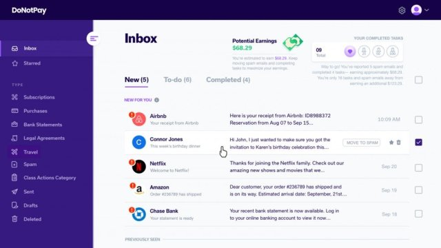 An email client, promising to save money.