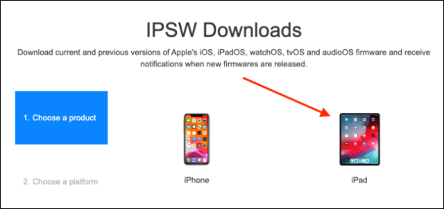 Select your device on the IPSW website.