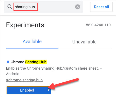 activate the sharing hub indicator