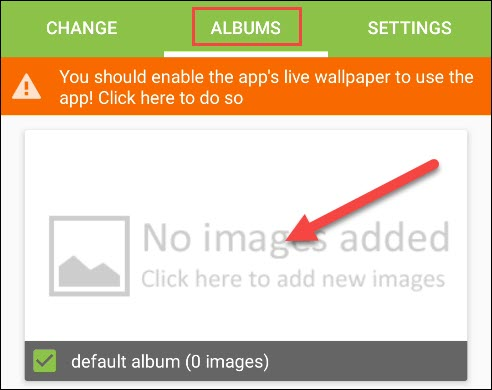 "Tap ""Albums,"" and then select the ""Default Album"" checkbox."