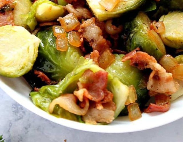A bowl of Brussels sprouts bacon.