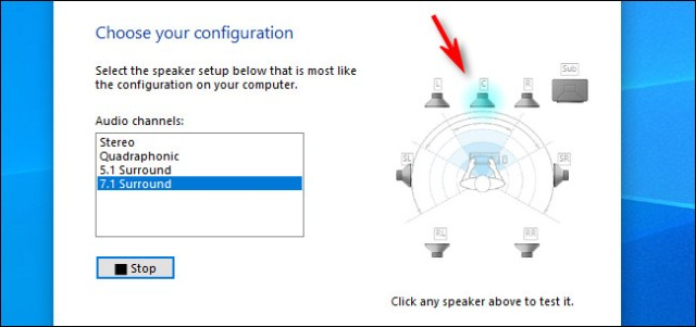 In the speaker setup in Windows 10, click on an individual speaker to hear a sound emitted.