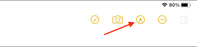 Select Pencil Icon from Notes Toolbar