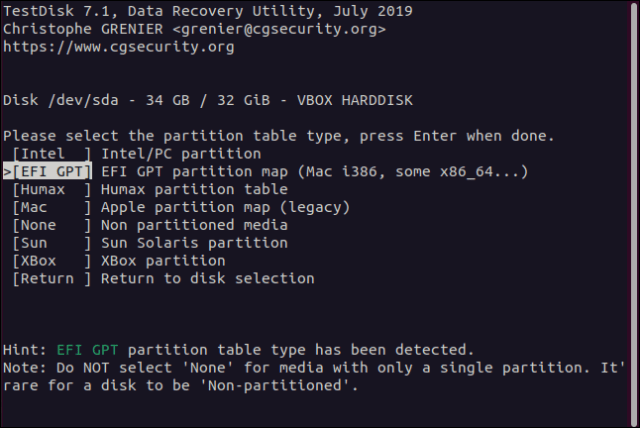 Partition table type menu in testdisk in a terminal window.