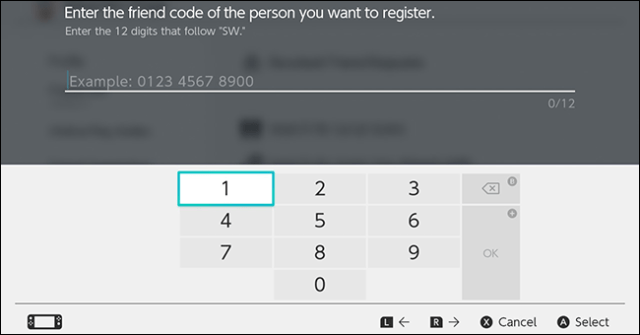 The Nintendo Switch Friend Code entry screen.