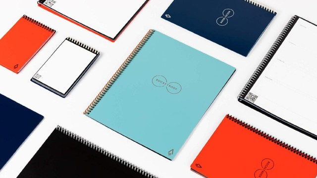 A colorful display of smart reusable notebooks.
