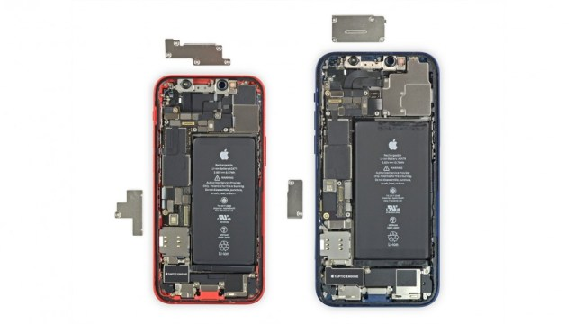 The iPhone 12 Mini compared to the regular iPhone 12 with the back removed to expose the battery and cards