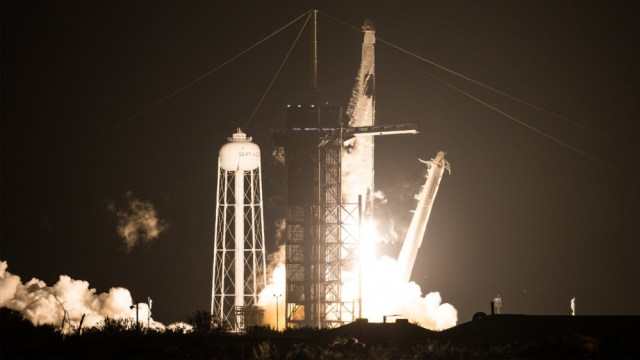 SpaceX Falcon 9 rocket carrying the Crew Dragon spacecraft on NASA's SpaceX Crew-1 mission to the International Space Station