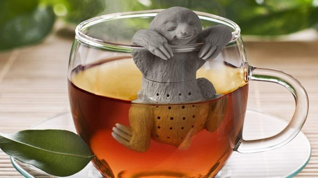 Lazy tea infuser in a tea cup.