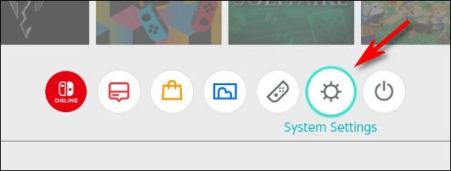 """On the Switch HOME menu, select the """"System Settings"""" gear icon."""