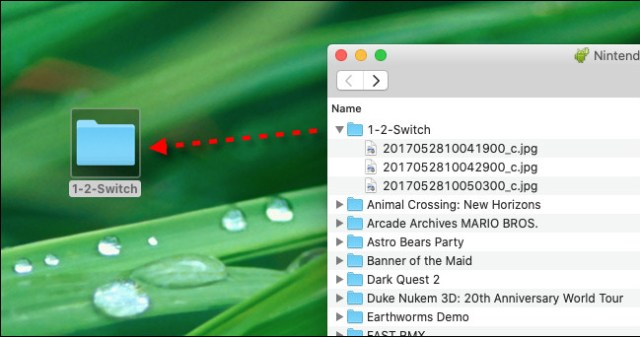 Drag and drop Nintendo Switch screenshot files from Android File Transfer onto your Mac desktop.