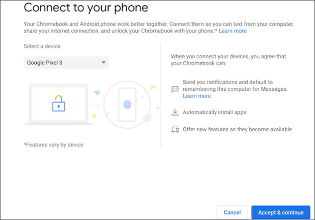 Select an Android phone to sign in to Chromebook
