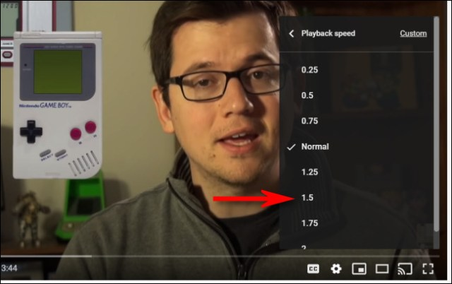 Choose a YouTube playback speed from the list.