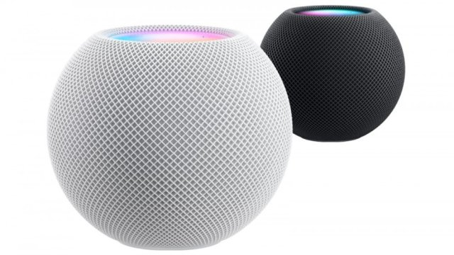Apple HomePod mini white with black mini behind