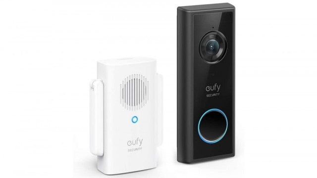 Eufy video doorbell and interior bell, oriented slightly to the right