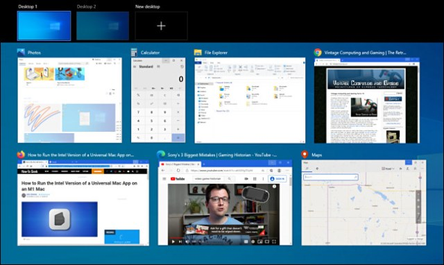 An example of a Windows 10 task view with many windows open.